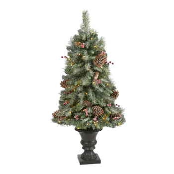 4 Frosted Pine Pinecone and Berries Artificial Christmas Tree with 100 Clear LED Lights in Decorat - SKU #T1692