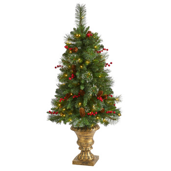 4 Pine Pinecone and Berries Artificial Christmas Tree with 100 Clear LED Lights in Decorative Urn - SKU #T1693