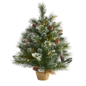 2 Frosted Pine Artificial Christmas Tree with 35 Clear LED Lights Pinecones and Burlap Base - SKU #T1694