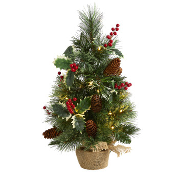 18 Mixed Pine Artificial Christmas Tree with Holly Berries Pinecones 35 Clear LED Lights and Burlap Base - SKU #T1696