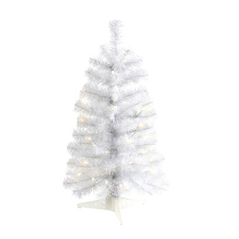2 White Artificial Christmas Tree with 35 LED Lights and 72 Bendable Branches - SKU #T1698