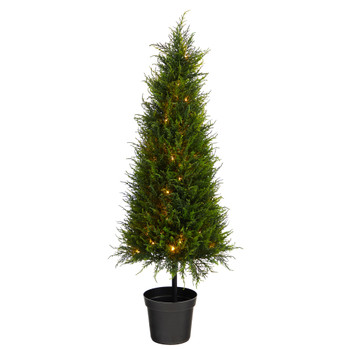 3.5 Cypress Artificial Tree with 350 LED Lights UV Resistant Indoor/Outdoor - SKU #T1708