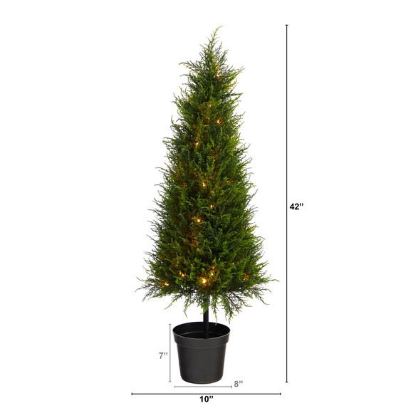 3.5 Cypress Artificial Tree with 350 LED Lights UV Resistant Indoor/Outdoor - SKU #T1708 - 1