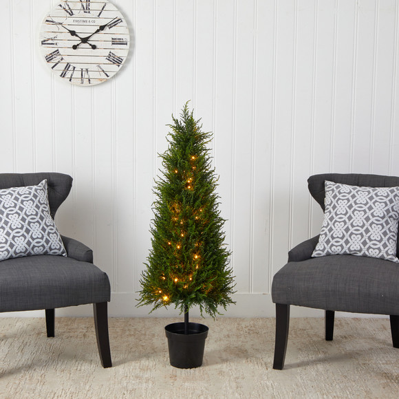3.5 Cypress Artificial Tree with 350 LED Lights UV Resistant Indoor/Outdoor - SKU #T1708 - 3