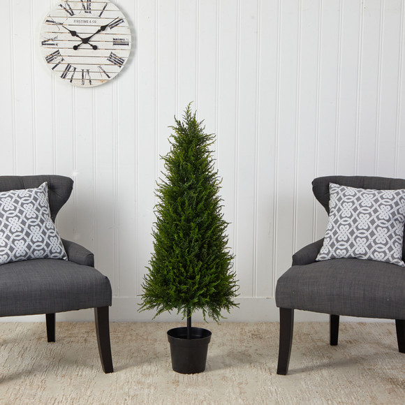 3.5 Cypress Artificial Tree with 350 LED Lights UV Resistant Indoor/Outdoor - SKU #T1708 - 4