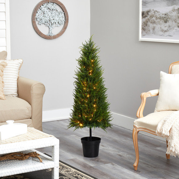 3.5 Cypress Artificial Tree with 350 LED Lights UV Resistant Indoor/Outdoor - SKU #T1708 - 5