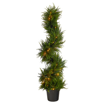 45 Spiral Cypress Artificial Tree with 80 Clear LED Lights UV Resistant Indoor/Outdoor - SKU #T1709