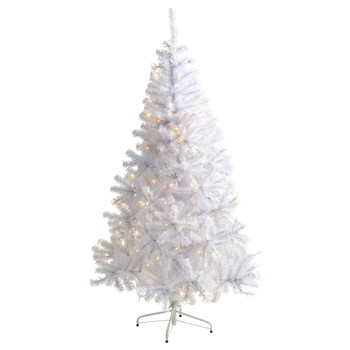 6 White Artificial Christmas Tree with 680 Bendable Branches and 250 Clear LED Lights - SKU #T1727