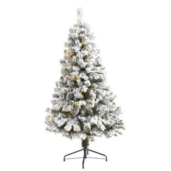 5 Flocked West Virginia Fir Artificial Christmas Tree with 150 LED Lights - SKU #T1739