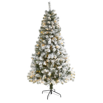 6 Flocked West Virginia Fir Artificial Christmas Tree with 250 Clear LED Lights - SKU #T1740