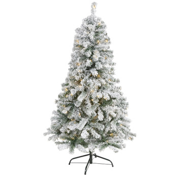5 Flocked Rock Springs Spruce Artificial Christmas Tree with 150 Clear LED Lights - SKU #T1751