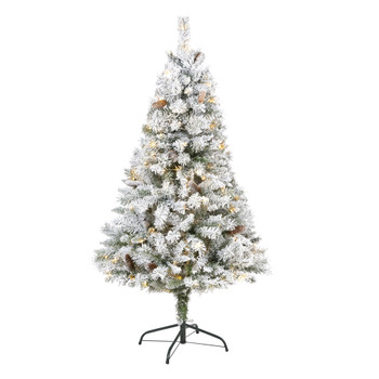 5 Flocked White River Mountain Pine Artificial Christmas Tree with Pinecones and 150 Clear LED Lights - SKU #T1763
