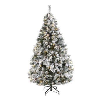 6 Flocked White River Mountain Pine Artificial Christmas Tree with Pinecones and 250 Clear LED Lights - SKU #T1764