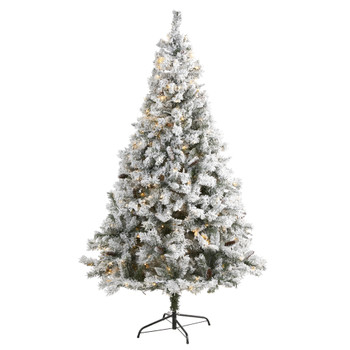 7 Flocked White River Mountain Pine Artificial Christmas Tree with Pinecones and 350 LED Lights - SKU #T1765