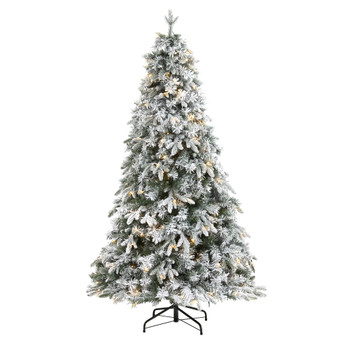 6 Flocked Vermont Mixed Pine Artificial Christmas Tree with 300 Clear LEDs Lights - SKU #T1772