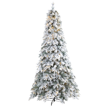 8 Flocked Vermont Mixed Pine Artificial Christmas Tree with 600 LED Lights - SKU #T1773