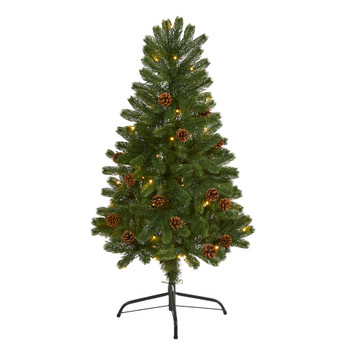 4 Rocky Mountain Spruce Artificial Christmas Tree with Pinecones and 70 Warm White LED Lights - SKU #T1774