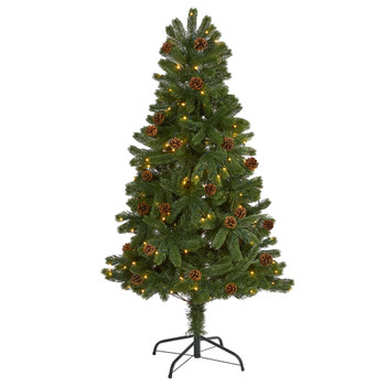 5 Rocky Mountain Spruce Artificial Christmas Tree with Pinecones and 100 Clear LED Lights - SKU #T1775