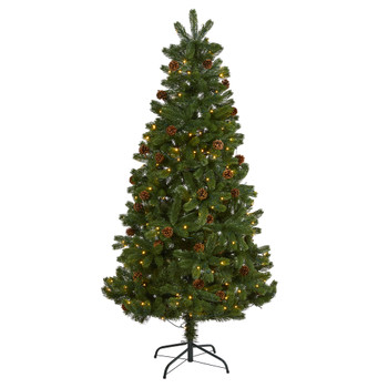 6 Rocky Mountain Spruce Artificial Christmas Tree with Pinecones and 250 Clear LED Lights - SKU #T1776