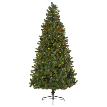 7.5 Rocky Mountain Spruce Artificial Christmas Tree with Pinecones and 400 Clear LED Lights - SKU #T1777