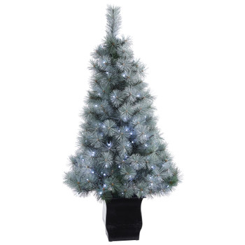 4 Snowy Mountain Pine Artificial Christmas Tree with 150 LED Lights and Decorative Planter - SKU #T1781