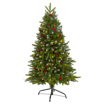 4 Snow Tipped Portland Spruce Artificial Christmas Tree with Frosted Berries and Pinecones with 100 Clear LED Lights - SKU #T1782