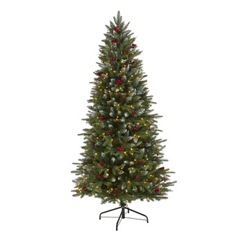 6 Snow Tipped Portland Spruce Artificial Christmas Tree with Frosted Berries and Pinecones with 300 Clear LED Lights - SKU #T1783