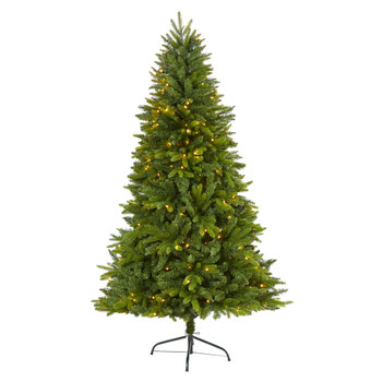 6 Sun Valley Fir Artificial Christmas Tree with 300 Clear LED Lights - SKU #T1785