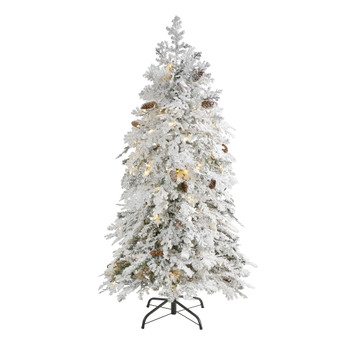 5 Flocked Montana Down Swept Spruce Artificial Christmas Tree with 100 Clear LED Lights - SKU #T1793