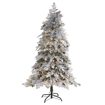 6 Flocked Montana Down Swept Spruce Artificial Christmas Tree with 250 Clear LED Lights - SKU #T1794