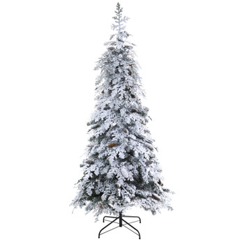 7 Flocked Montana Down Swept Spruce Artificial Christmas Tree with Pinecones and 400 LED Lights - SKU #T1795