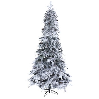 8 Flocked Montana Down Swept Spruce Artificial Christmas Tree with Pinecones and 500 LED Lights - SKU #T1796
