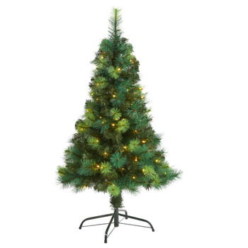 4 Assorted Green Scotch Pine Artificial Christmas Tree with 70 LED Lights - SKU #T1797