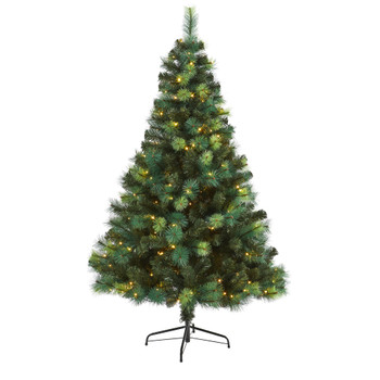 6 Assorted Green Scotch Pine Artificial Christmas Tree with 250 LED Lights - SKU #T1798