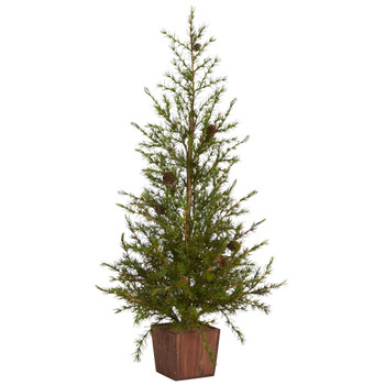 3 Alpine Natural Look Artificial Christmas Tree in Wood Planter with Pine Cones - SKU #T1800