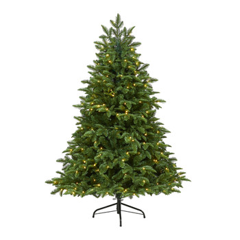 5 Wyoming Fir Artificial Christmas Tree with 250 Clear LED Lights and 630 Bendable Branches - SKU #T1802