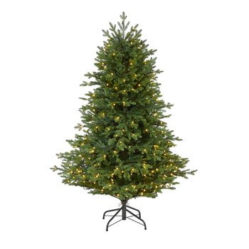 5 Wyoming Spruce Artificial Christmas Tree with 300 Clear LED Lights and 773 Bendable Branches - SKU #T1805