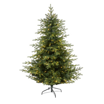 6 Swedish Fir Artificial Christmas Tree with 350 Warm White LED Lights and 963 Bendable Branches - SKU #T1809