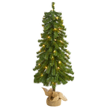 3 Alpine Artificial Christmas Tree with 50 Lights 177 Bendable Branches and a Burlap Planter - SKU #T1842