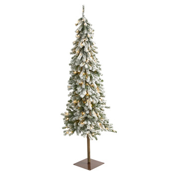 6 Flocked Alpine Christmas Artificial Tree with 200 Lights and 580 Bendable Branches - SKU #T1850