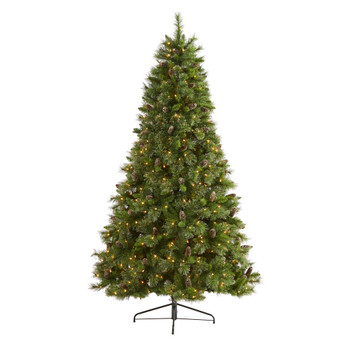 7.5 Golden Tip Washington Pine Artificial Christmas Tree with 600 Clear Lights Pine Cones and 1568 Bendable Branches - SKU #T1854