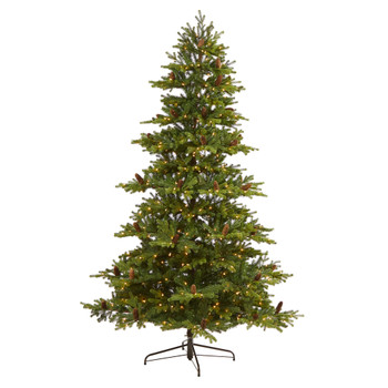7.5 Yukon Mountain Fir Artificial Christmas Tree with 600 Clear Lights Pine Cones and 1740 Bendable Branches - SKU #T1857