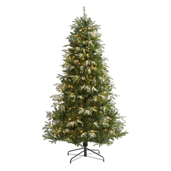 7 Snowed Grand Teton Artificial Christmas Tree with 500 Clear Lights and 1050 Bendable Branches - SKU #T1858