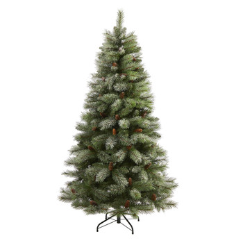 6 Snowed French Alps Mountain Pine Artificial Christmas Tree with 583 Bendable Branches and Pine Cones - SKU #T1859