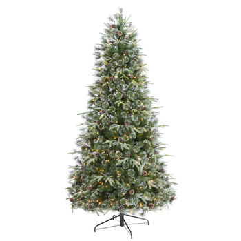 7.5 Snowed Tipped Clermont Mixed Pine Artificial Christmas Tree with 600 Clear LED Lights Pine Cones and 1784 Bendable Branches - SKU #T1862