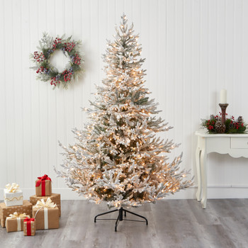 7 Flocked Fraser Fir Artificial Christmas Tree with 600 Warm White Lights and 3852 Bendable Branches - SKU #T1869