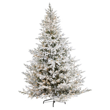 8 Flocked Fraser Fir Artificial Christmas Tree with 800 Warm White Lights and 4892 Bendable Branches - SKU #T1870