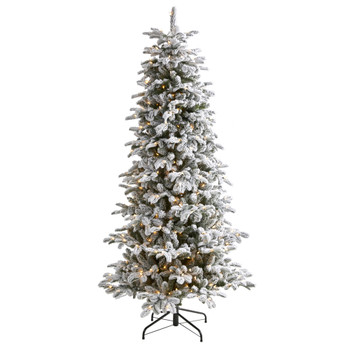 7 Flocked North Carolina Fir Artificial Christmas Tree with 550 Warm White Lights and 2090 Bendable Branches - SKU #T1873
