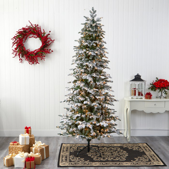 8 Flocked North Carolina Fir Artificial Christmas Tree with 650 Warm White Lights and 2593 Branches - SKU #T1874