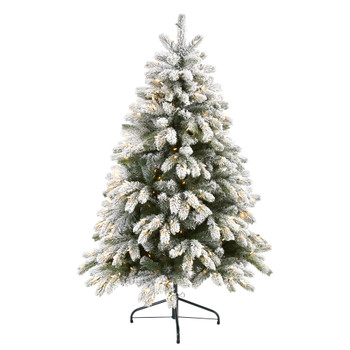 5 Flocked South Carolina Spruce Artificial Christmas Tree with 300 Clear Lights and 621 Bendable Branches - SKU #T1875